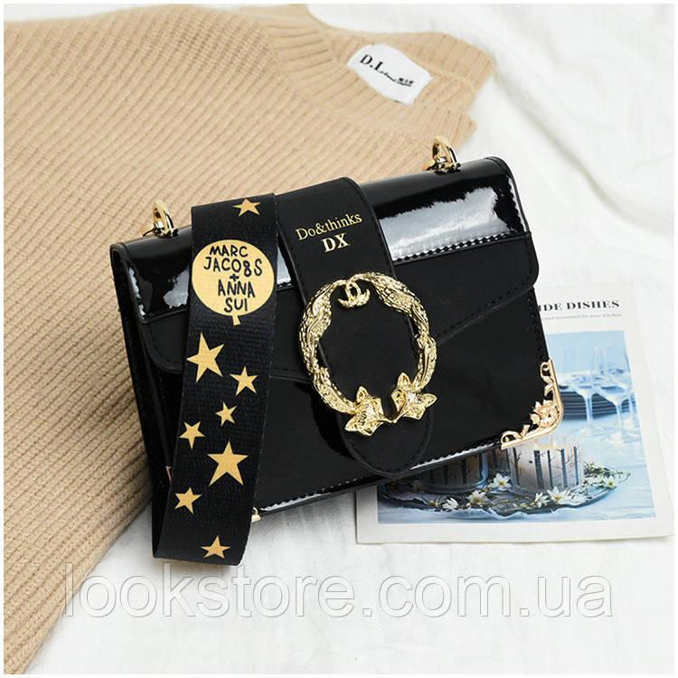 Маленькая женская лаковая сумка Marc Jacobs черная