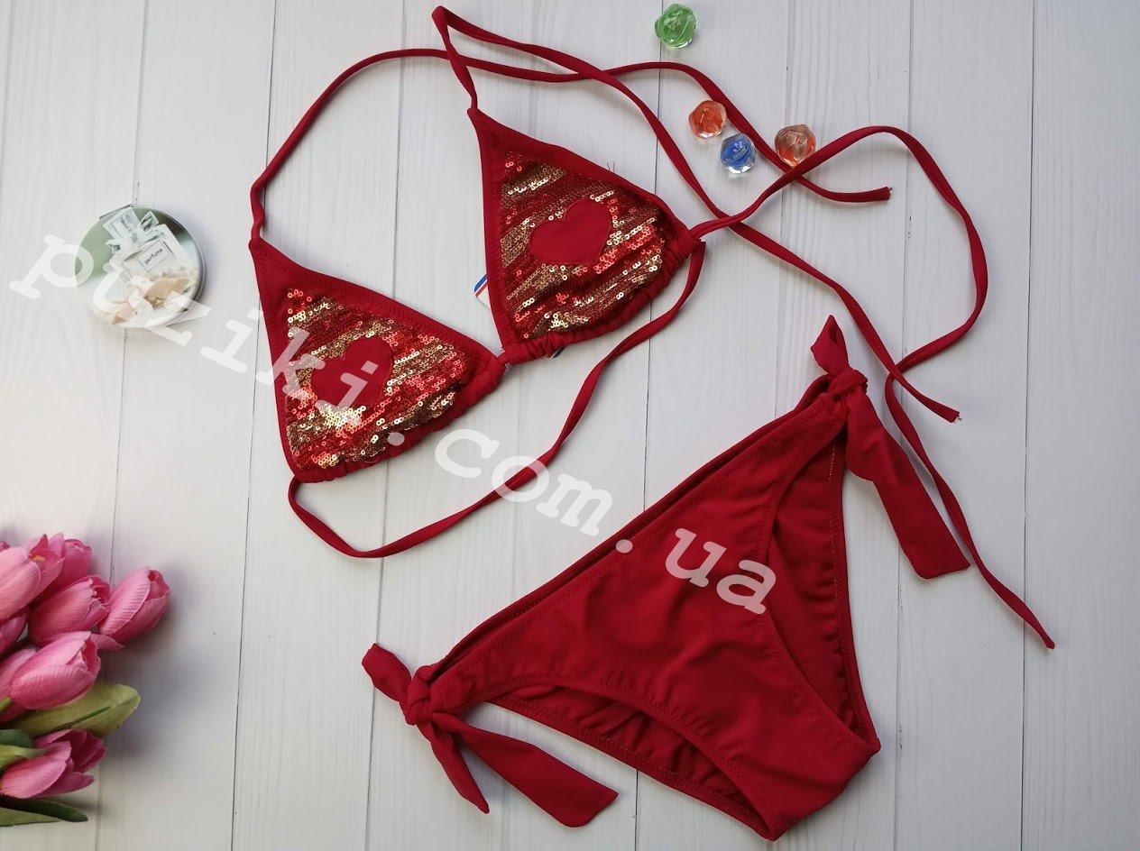Красный раздельный купальник с пайетками для девочки подростка 36-38р