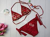 Красный раздельный купальник с пайетками для девочки подростка 36-38р, фото 1