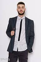 Серый трикотажный пиджак с потайными карманами и тесемкой вдоль воротника