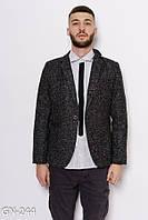 Черный шерстяной классический пиджак с белыми вкраплениями