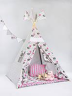 Вигвам - палатка  «Слоник с розовым зонтом»