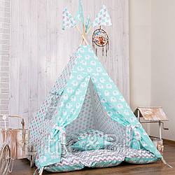 Вигвам - палатка  «Мятный слон» с ковриком - подушками