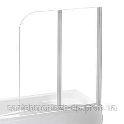 Шторка на ванну 120*138 см, цвет профиля белый