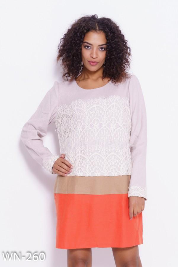 7d0e55308d8 Шерстяное комбинированное платье с кружевом и вставками - Интернет-магазин