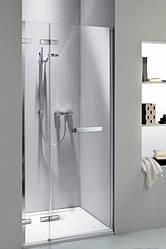 NEXT двери распашные 120 см с релингом, левые, закаленное стекло, хром/серебряный блеск, Reflex
