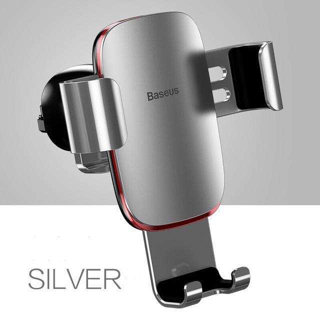 Универсальный автомобильный держатель смартфона Baseus Metal Gravity Car Phone Holder Silver