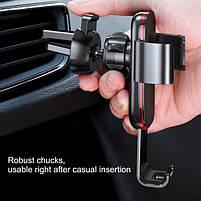 Универсальный автомобильный держатель смартфона Baseus Metal Gravity Car Phone Holder Silver, фото 6