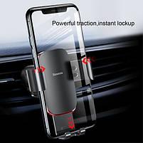 Универсальный автомобильный держатель смартфона Baseus Metal Gravity Car Phone Holder Silver, фото 8