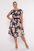 Платье летнее Лорен черное Розы, фото 1