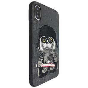 Накладка DK-Case силикон ткань Cat i see you for Apple iPhone X (grey)