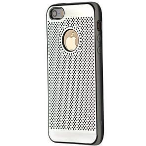 Чехол-накладка DK-Case силикон хром Перфорация для Apple iPhone 5/5S (silver)