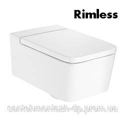 INSPIRA Square унитаз 370*560*440мм, подвесной, квадратный, Rimless, горизонтальный выпуск