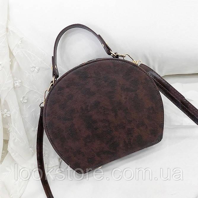 43a768a60867 LookStore.com.ua | Женская маленькая полукруглая сумка коричневая ...