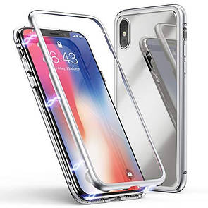 Чехол  Tempered Glass Magneto Back Side Apple iPhone XS Max (silver)