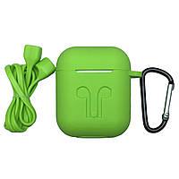 Чехол-накладка силикон Карабин Шнурок для Apple AirPods (light green)