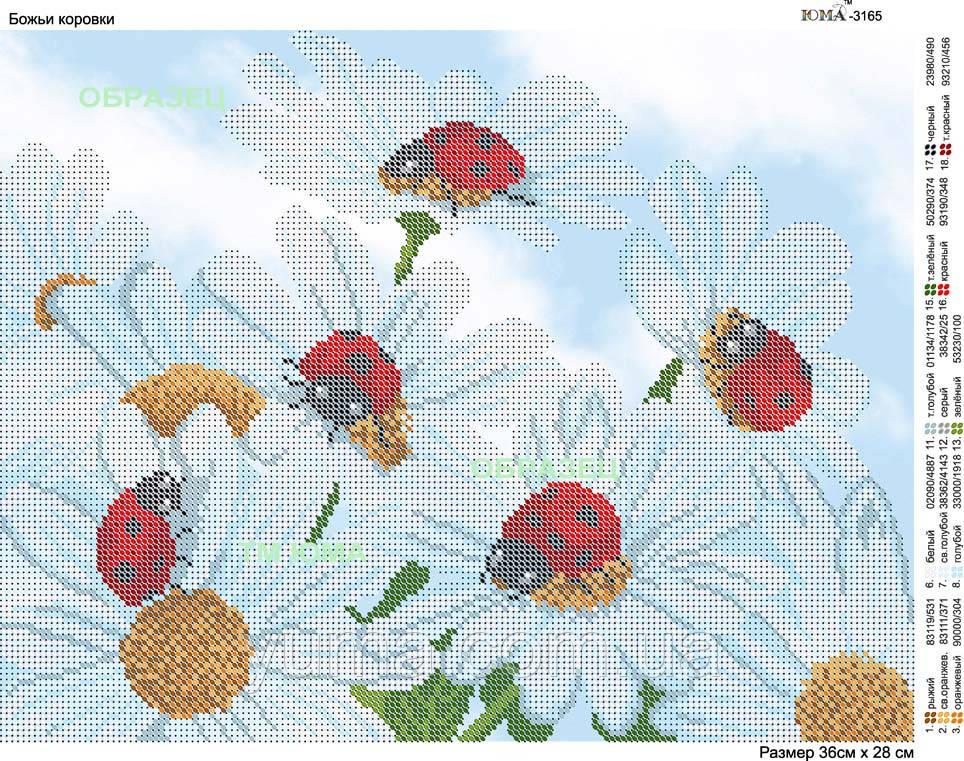 Схема для вышивки бисером ромашки