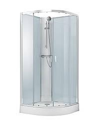 OLIVA душевой бокс без крыши 90*90*205см в комплекте с мелким поддоном,профиль хром, стекло прозрачное
