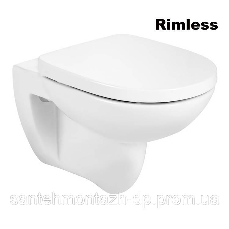 DEBBA Round Rimless чаша підвісного унітазу і кришка з сидінням SUPRALIT, з анти-бактеріальної структурою, з функцією повільного опускання
