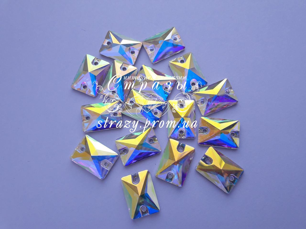 Стразы пришивные SWARO Прямоугольник 10*14мм. Стекло Crystal AB