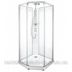 SHOWERAMA 10-5 Comfort  душевая кабина пятиугольная 90*90см, профиль серебристый, прозрачное стекло/матовое стекло