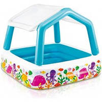 """Детский надувной бассейн со съемным навесом """"Аквариум"""" Intex 57470"""