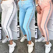 """/ Розмір 42,44,46 / Жіночі модні спортивні брюки """"Hard"""" / колір білий, фото 2"""