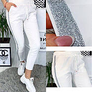 """/ Розмір 42,44,46 / Жіночі модні спортивні брюки """"Hard"""" / колір білий, фото 3"""