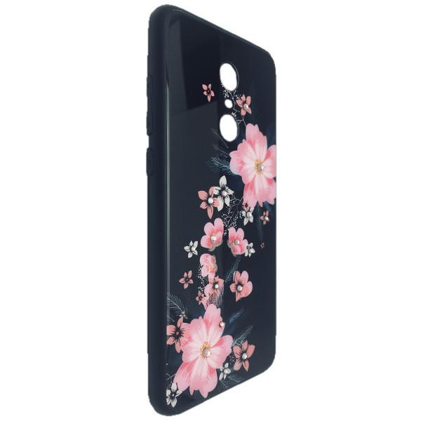 Чехол стекло Цветы камни Xiaomi Redmi 5 (01)