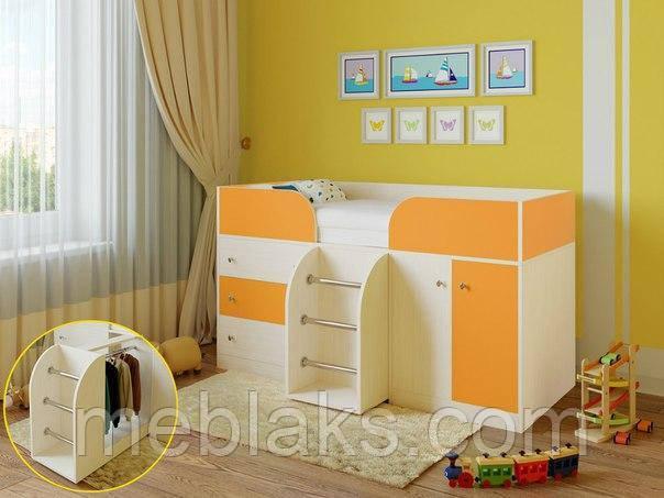 Детская кровать чердак «Карлсон» Молочный дуб+ оранжевый  Богама