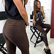"""/ Размер 42,44,46,48 / Женские замшевые леггинсы с высокой талией """"Loft"""" / цвет шоколад, фото 2"""