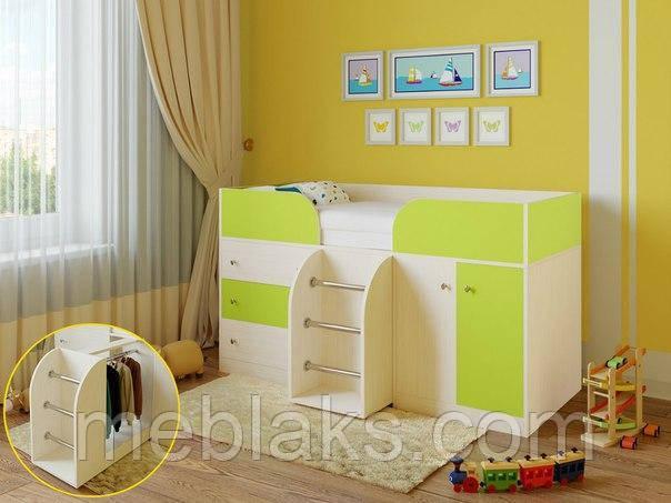 Детская кровать чердак «Карлсон» Молочный дуб+ лайм  Богама
