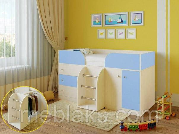 Детская кровать чердак «Карлсон» Молочный дуб+ голубой  Богама