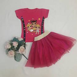 Летний малиновый  костюм для маленькой девочки