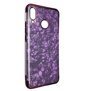 Чехол с хром бортом Edge Marble Huawei Nova 3 (violet)