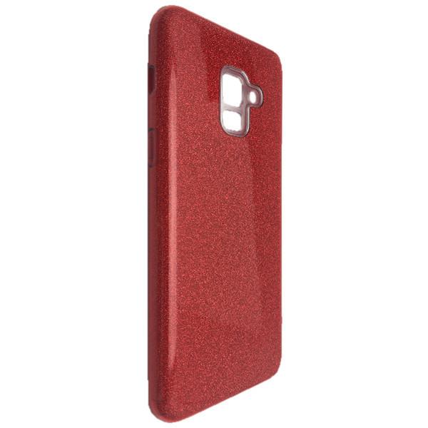 Чехол Silicone Glitter Heaven Rain Samsung A8 Plus (red)