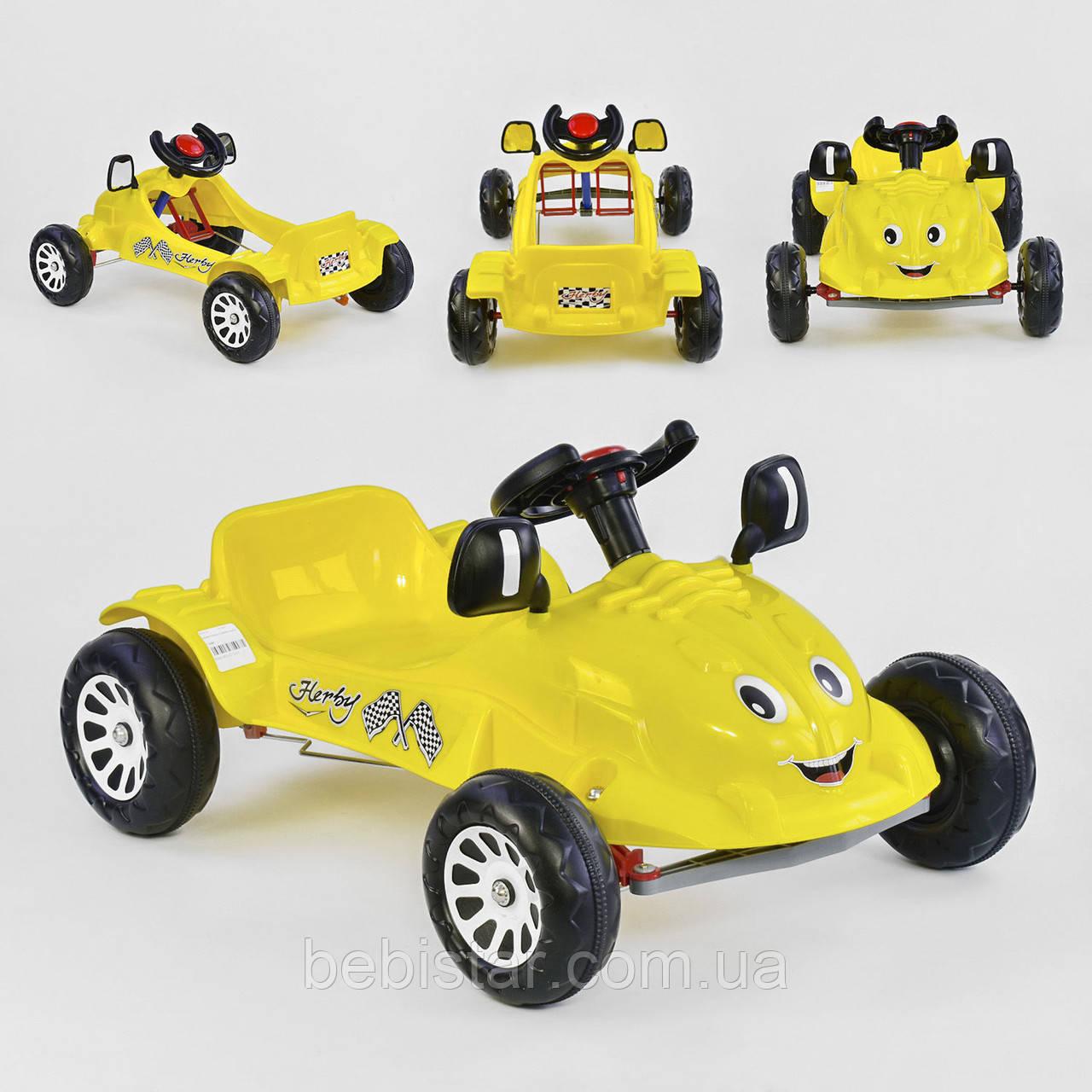 Машина педальная желтая, пластиковые колеса с звуковым сигналом
