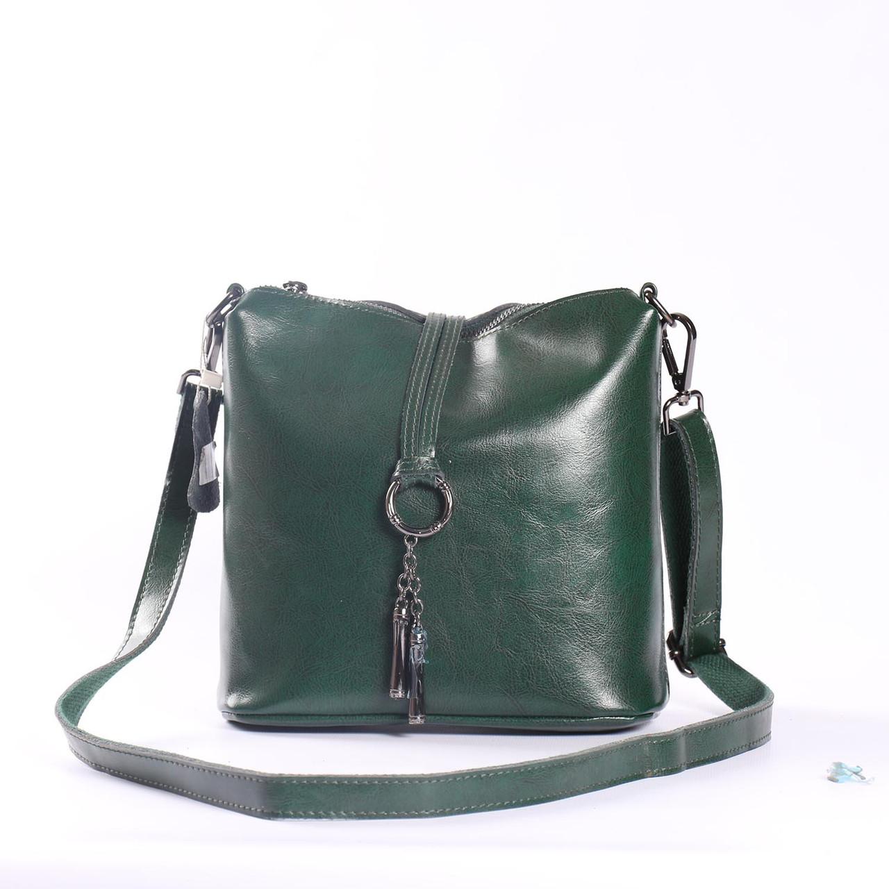 e5543c3ab6be Женская кожаная сумка зеленая