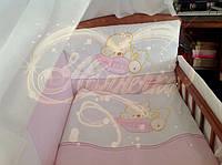 """Комплект детского постельного белья """"Мишка на подушке"""" бело-розовый 8 единиц"""