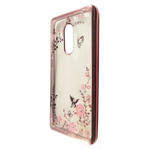 Чехол с хром бортом и цветами Xiaomi Redmi 5 Plus (rose gold)