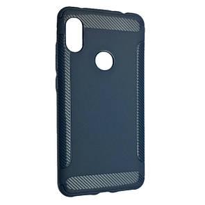 Чехол Silicone Carbon Soft Edge Xiaomi Redmi Note 6 Pro (dark blue)