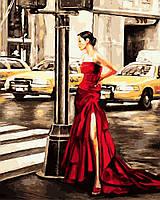 Картина по номерам Девушка и желтое такси