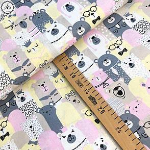 """Польская хлопковая ткань """"мишки серые, молочные и розовые"""", фото 2"""