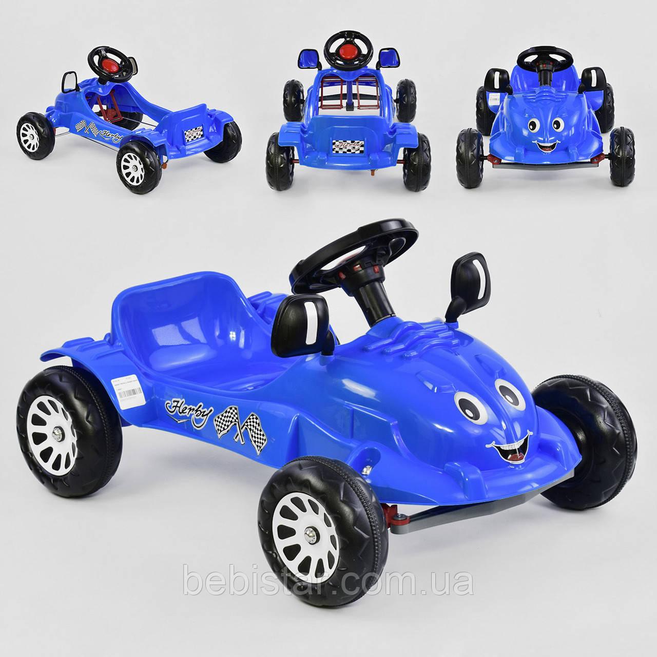 Веломобиль машина педальная синяя пластиковые колеса с звуковым сигналом