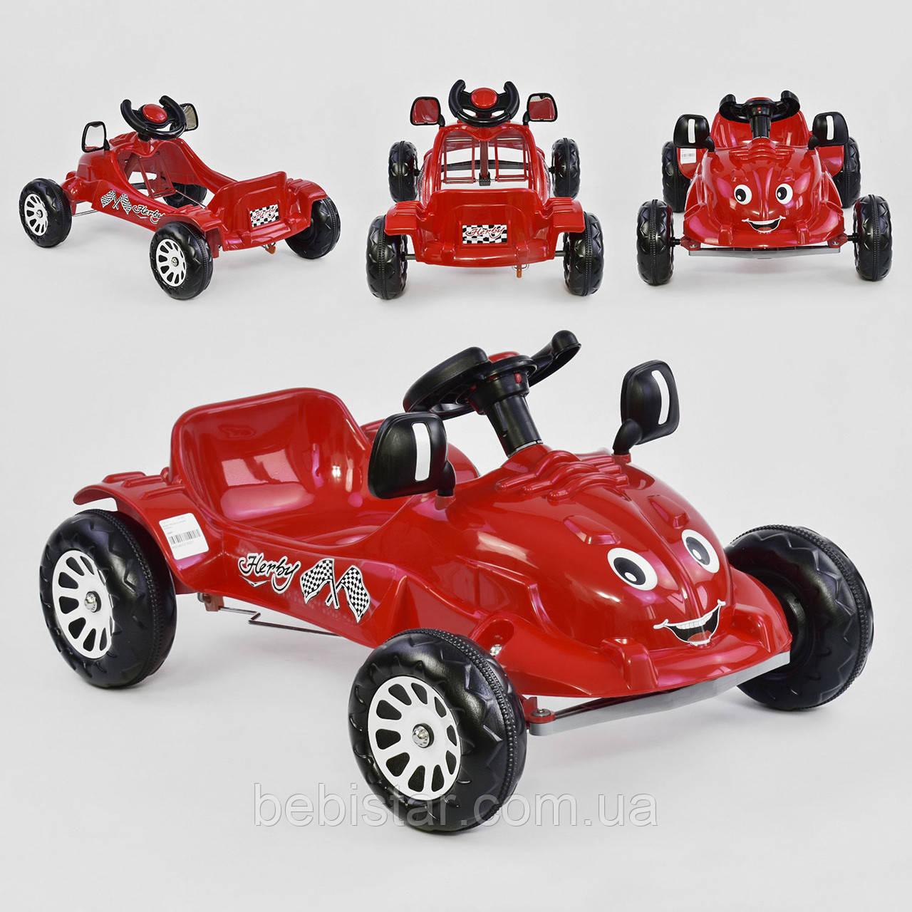 Машина педальная червона, пластикові колеса з звуковим сигналом