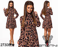 Яркое короткое платье с драпировкой по горловине размеры S-L, фото 1