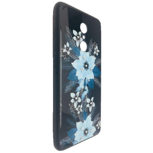 Чехол стекло Цветы камни Xiaomi Redmi 5 Plus (02)