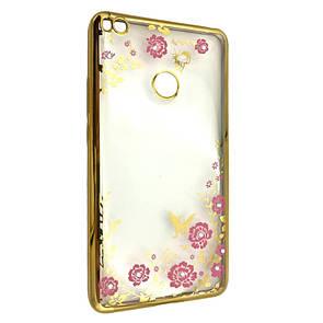 Чехол с хром бортом и цветами Xiaomi Mi Max 2 (gold)