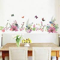 """Виниловые наклейка на стену, окна, шкаф-купе """"птичка и летние цветы с бабочками"""" 55см*170см (лист 60*90см)"""