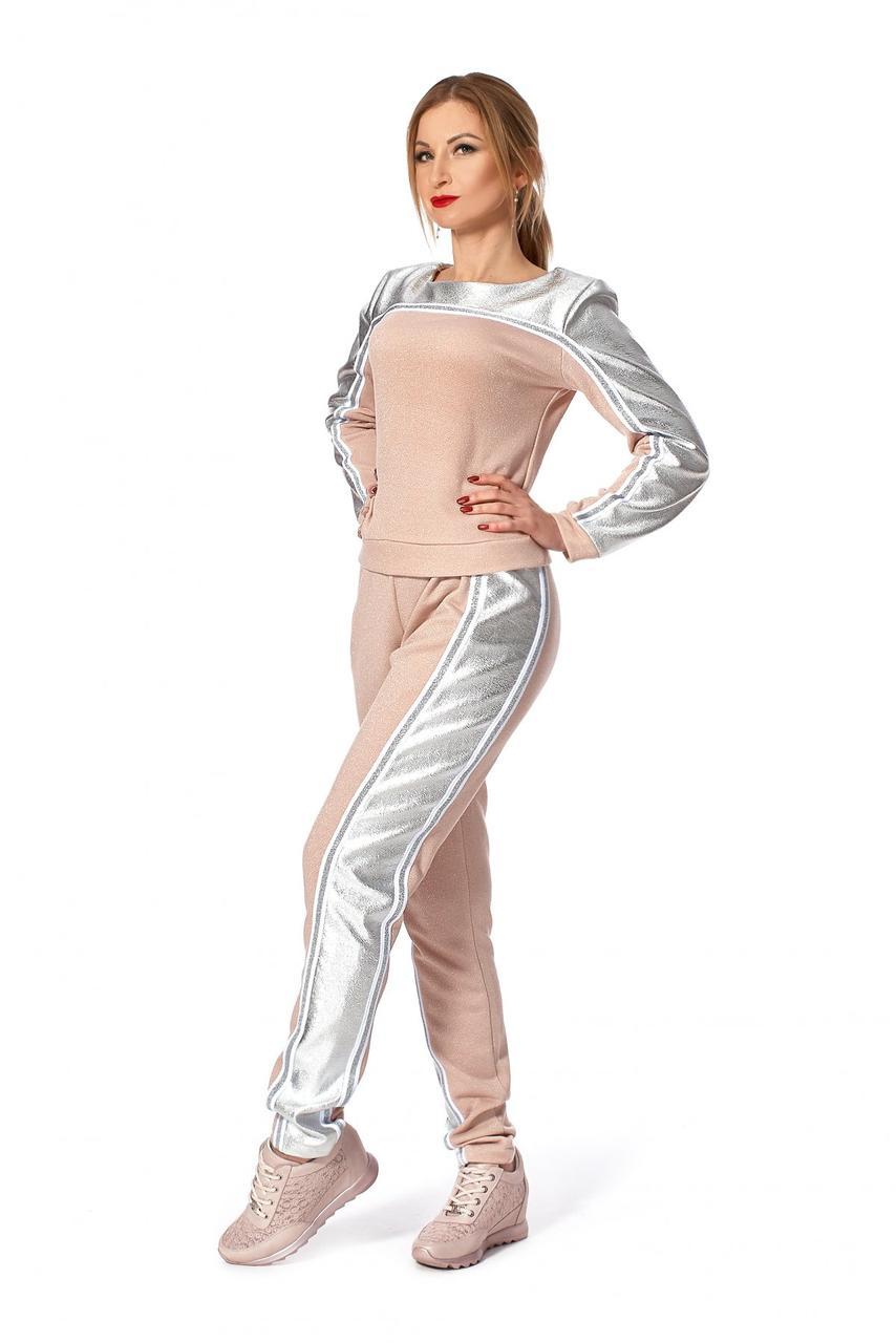 / Размер 42-44,46-48 / Женский стильный молодежный спортивный костюм 679.1_пудровый